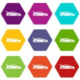 Rally racing car icon set color hexahedron. Rally racing car icon set many color hexahedron isolated on white vector illustration Stock Photos