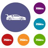 Rally racing car icons set. In flat circle reb, blue and green color for web Stock Photos