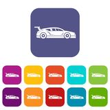 Rally racing car icons set. Vector illustration in flat style in colors red, blue, green, and other Royalty Free Stock Photos