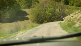 Rally Racing car inside windshield view stock video