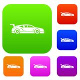 Rally racing car set collection. Rally racing car set icon in different colors isolated vector illustration. Premium collection Stock Image