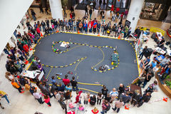 Rally of radio controlled car model. Minsk, Belarus, 11-May-2014: rally of radio controlled car models on celebration of Ice Hockey World Championship in Minsk royalty free stock image
