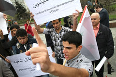 Rally of representatives of Syrian community. Royalty Free Stock Photos
