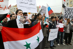 Rally of representatives of Syrian community. Royalty Free Stock Photo
