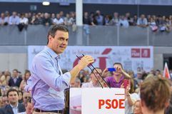 Rally of the Spanish Socialist Workers' Party (PSOE) Royalty Free Stock Photo