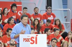 Rally of the Spanish Socialist Workers' Party (PSOE) in Gijon Stock Photos