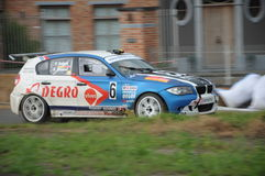 Rally Staden 2014 Belgium. Patrick Snijers BMW during a stage of the Rally in Staden (B). Panned photograph to capture the speed of the car Royalty Free Stock Photography
