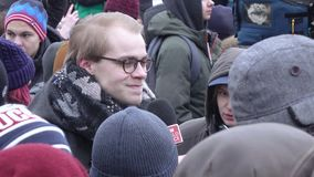 Rally in support of the boycott in 2018. RUSSIA, MOSCOW - JANUARY 28, 2018: BBC journalist. Rally in support of the boycott in 2018 when the organization Navalny stock video