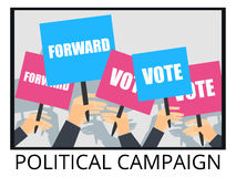 Rally support for the election of the candidate. Election campaign. voters support, people with placards. Vector illustration Royalty Free Stock Images