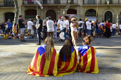Rally in support for the independence of Catalonia in Barcelona, Stock Photos
