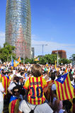 Rally in support for the independence of Catalonia in Barcelona, Royalty Free Stock Photo