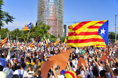 Rally in support for the independence of Catalonia in Barcelona, Royalty Free Stock Photos