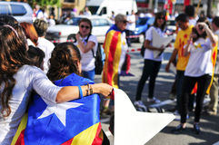 Rally in support for the independence of Catalonia in Barcelona, Royalty Free Stock Image