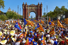 Rally in support for the independence of Catalonia in Barcelona, Stock Photography