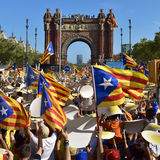 Rally in support for the independence of Catalonia in Barcelona, Stock Images