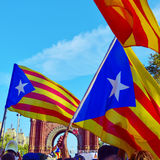 Rally in support for the independence of Catalonia in Barcelona, Royalty Free Stock Photography
