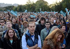 Rally in support of policy Alexei Navalny on Bolotnaya Square in Moscow. Stock Photo