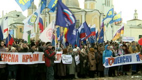 Rally to mark the second anniversary of the annexation of Crimea to Russia. stock footage