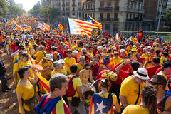 Rally to 300th anniversary of  loss of independence of Cataloni Royalty Free Stock Image