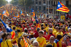 Rally to 300th anniversary of  loss of independence of Catalonia Stock Photos