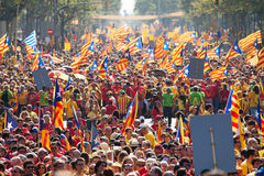 Rally to 300th anniversary of  loss of independence of Catalonia Royalty Free Stock Photography