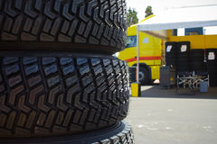 Rally tyres. New rally tyres for gravel surfaces Royalty Free Stock Images