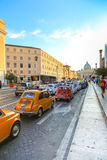 Rally of vintage economy car Fiat 500 Royalty Free Stock Photography