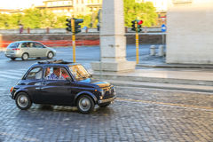 Rally of vintage economy car Fiat 500 Stock Photos