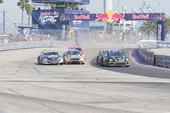 Rallycross drivers competing during the Red Bull GRC Royalty Free Stock Photos