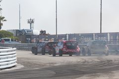 Rallycross drivers competing during the Red Bull GRC Stock Photo