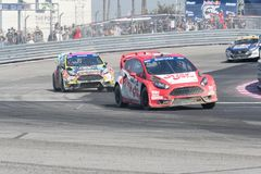 Rallycross drivers competing during the Red Bull GRC Royalty Free Stock Photography