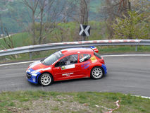 Rallying Peugeot 206. Car number 15 (Peugeot 206) face an hairpin bend in Saint-Nicolas' stage of the 42nd Rally of Aosta Valley in 2012 on April the 27th/28th Royalty Free Stock Images