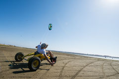 Ralph Hirner riding a kitebuggy Stock Photo