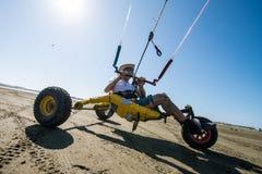 Ralph Hirner riding a kitebuggy Stock Images