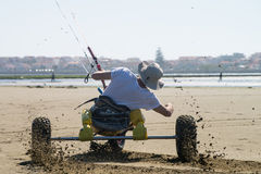 Ralph Hirner riding a kitebuggy Royalty Free Stock Photography