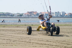 Ralph Hirner riding a kitebuggy Stock Images