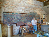 Ralph Irwin, artist, stands with his Redwood mural Royalty Free Stock Photos