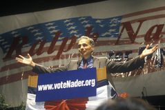 Ralph Nader speaking from podium at 1992 campaign rally at Long Beach Arena, CA Stock Photo