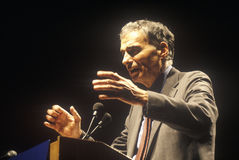 Ralph Nader speaking from podium at 1992 campaign rally at Long Beach Arena, CA Royalty Free Stock Photos