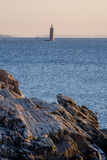 Ram海岛在日出的壁架灯塔在北部入口 库存图片