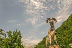 Ram雕象有山风景背景 库存图片