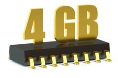 4 RAM ΜΒ ή τσιπ μνήμης ROM για το smartphone και την ταμπλέτα Στοκ Εικόνα