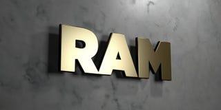 Ram -在光滑的大理石墙壁登上的金标志- 3D回报了皇族自由储蓄例证 库存图片