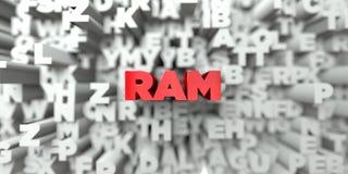 RAM -在印刷术背景的红色文本- 3D回报了皇族自由储蓄图象 库存图片