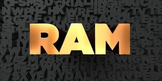 Ram -在黑背景的金文本- 3D回报了皇族自由储蓄图片 库存图片