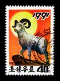 Ram (ariete) del ammon del Ovis, serie di Newyear, circa 1990 Fotografia Stock