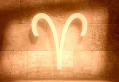 Astrology symbol aries. The ram astrology sign. Empty concrete interior. 3D rendering vector illustration