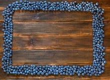 Ram av blåbäret på mörk träbakgrund Arkivfoton