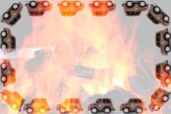 Ram av brandmanleksakbilen Royaltyfri Foto