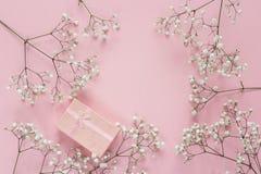 Ram av delikata små vita blommor och gåvaasken på rosa färgbac royaltyfri fotografi